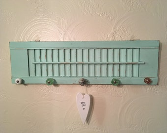 shutter decor,jewlery holder,home decor,wall hanging,recliamed wood,repurposed wood shutter,wall decor,storage