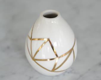 18K Handpainted Gold Porcelain Bud Vase- Fitzgerald Collection