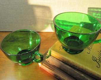 Set of Two (2) Emerald Green Glass Teacups