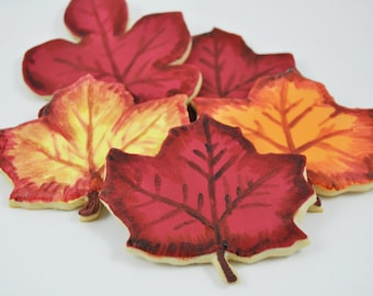 Colorful Fall Leaves - Autumn Cookies - Decorated Iced Sugar Cookies - Fall  - Forest - cute gift - thanksgiving dinner - hand painted