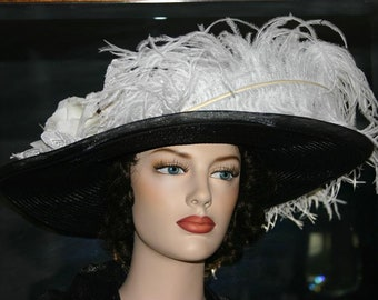Kentucky Derby Hat Ascot Women's Edwardian Hat Tea Party Downton Abbey Hat Titanic Hat Black Wide Brim Hat - White Black Crystal Fairy