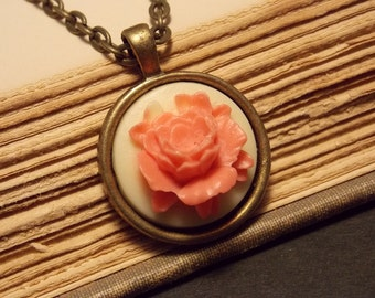 Pink and Ivory Rose Cameo Necklace