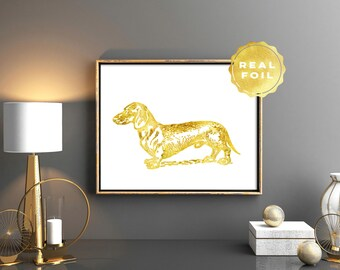 Dachshund Art Print 4x6 - 5x7 - Gold Dog - Gold Foil Doxie - Gold Leaf Dog - Girly Art - Vintage Dog Art - Dachshund Gift