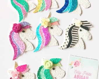 Unicorn/pony hairclip, Glitter rainbow