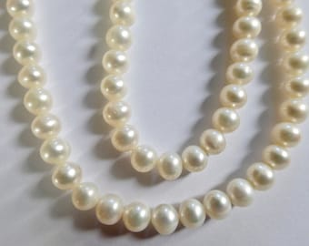 "Cultured White Potato Pearls  16"" Strand 5-5.5mm (74)"