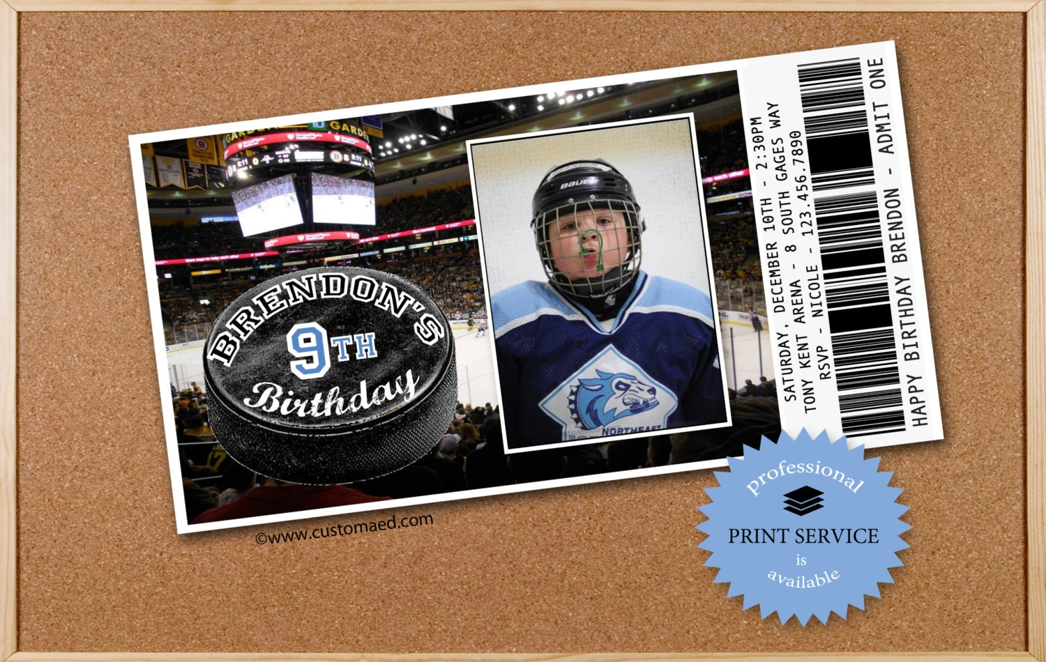 HOCKEY Birthday Invitations PERSONALIZED with PHOTO