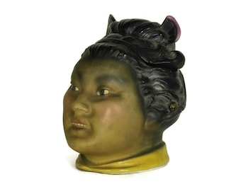 Antique Japanese Geisha Character Porcelain Tobacco Jar. Gifts For Smoker. Asian Figurine Home Decor.