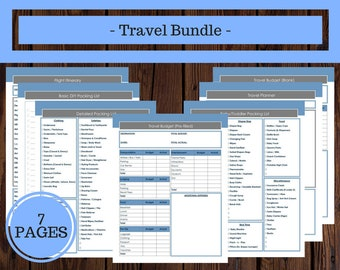 Travel Bundle, Travel Planner, Vacation Planner, Travel Itinerary, Packing List, Trip Planner, Family Vacation Planner