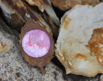 From a Distance - Brooch-Wooden Leaf Setting- Purple/Pink