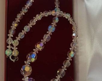 Antique czech vintage crystal necklace Gatsby wedding