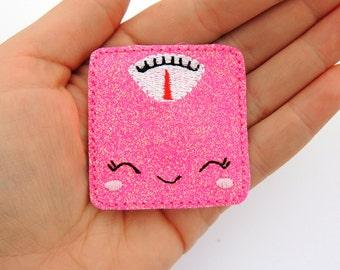 Scale feltie - Doctor feltie - Embroidered Scale - Scrap booking feltie - Glitter scale feltie - Glitter felties - Glitter Paperclip