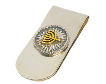 Silver and Gold Menorah Jewish Money Clip