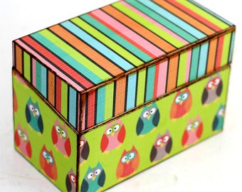 Wood Recipe Box Retro Owls Fits 4x6 Recipe Cards