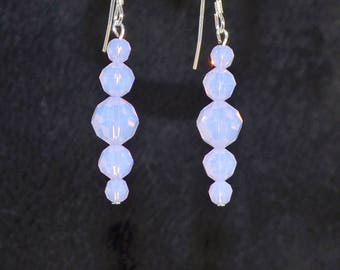 Glowing Violat Opal Swarovski Crystal Sterling Silver Earrings