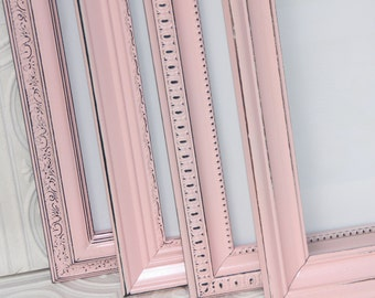 Pink 8x10 Frame Set of Three Soft Pink Shabby Chic Vintage Hand Painted Distressed Frames
