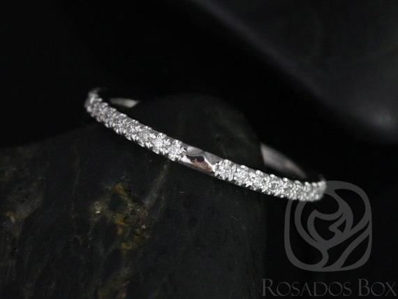 Rosados Box DIAMOND FREE 14kt White Gold Matching Band to Eloise 8mm White Sapphire ALMOST Eternity Band
