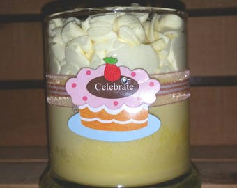 Buttercream Cupcake hand poured and decorated soy candle with whipped soy topping in glass container highly scented 12 ounce