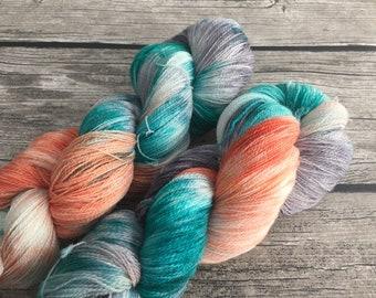 Raindrops On Roses - Superwash Merino Hand Dyed Yarn - Lace Weight yarn - Hand Dyed Yarn - Indie Dyed Yarn