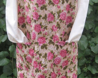 Sweet Roses Vintage Full Coverage Old Fashioned Canning Apron-Size Large