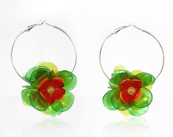 Green Flower Hoop Earrings, Silver Tone Flower Earrings, 5 cm Diameter, Eco-friendly, Up-cycle by ENNA