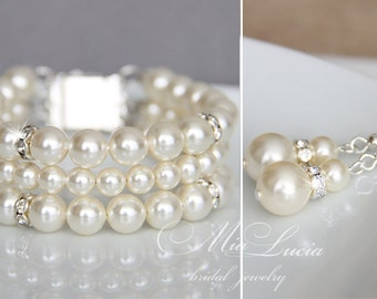 Wedding Jewelry Set, Swarovski Pearl Bridal Jewelry Set, Pearl Necklace Earrings Bracelet Set,  art. e39-b10