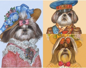 Shih Tzu Trio - 3 Art Prints - Lady Pretty, Officer and Lady Sunny - Dogs in Clothes - Funny Pet Portraits by Maria Pishvanova