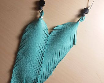 Teal Leather Feather Earrings