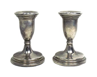 A Pair of Small Silver Plated Candlesticks, Vintage Silver Plated Candlesticks, Silver Plated Candle Holders, Short Pair of Candlesticks