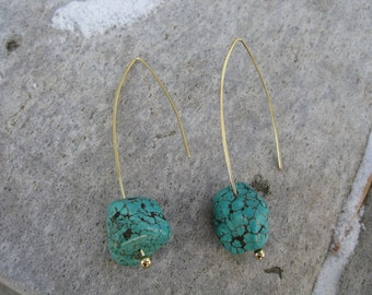 Brass and Turquoise Earrings