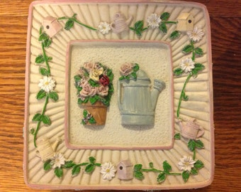 Vintage Trinket Box Small Decorative Box Vintage Container Pink and Green Box