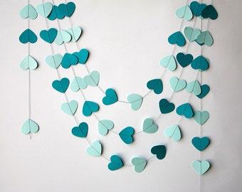 Teal wedding - Wedding decoration, Teal heart garland, Heart garland, Valentines day decor, Paper garland, Teal wedding garland, KCO-3030,TG