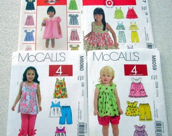 McCall's Spring & Summer Outfits for Toddlers, sizes 1 to 4