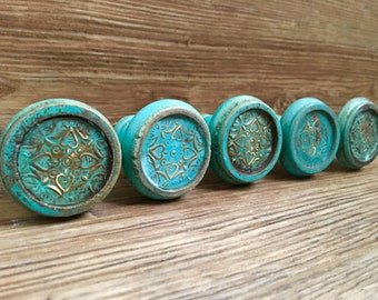 SET OF 2 - Large Distressed Turquoise and Gold Foil Painted Wooden Knob - Rustic Country Drawer Pull - Decorative Knob - Cabinet Decor