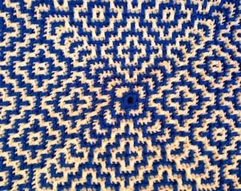 Blue and White Geometric Afghan