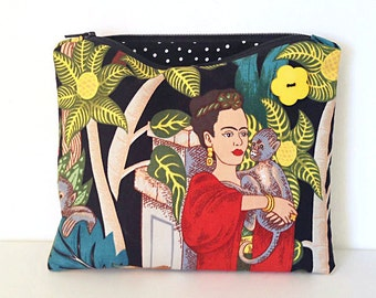Frida Kahlo with Monkey zipper bag a cosmetic case makeup bag small zipper pouch clutch Mexican Art