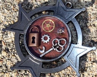 Steampunk Pendant- Mens Metal with Clock Parts and Key