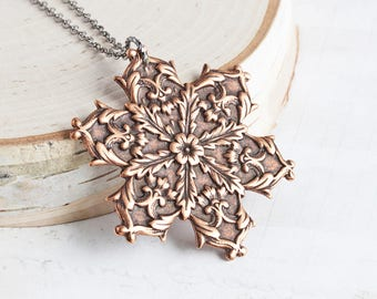Rustic Snowflake Necklace, Large Antiqued Copper Plated Snowflake Pendant on Gunmetal Chain, Long Necklace, Winter Jewelry