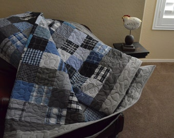 Quilt King UpCycle RePurpose ReUse Men's Plaid Dress Shirt Black Gray Blue Quilt Made to Order