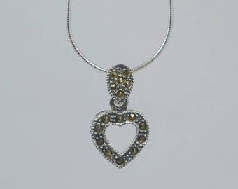 "Vintage Sterling Silver Valentine Marcasite Pendant on NEW 16"" Sterling Snake Chain"