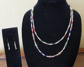 Pearl and Cloisonne Necklace and Earrings