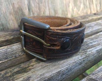 Vintage ~ Leather Belt ~ Stamped ~ 80's Mens