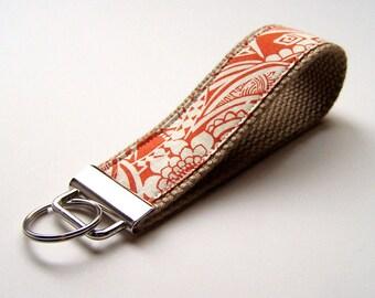 Fabric Key Wristlet, Orange and Cream Ethnic style print, Fabric Key Chain