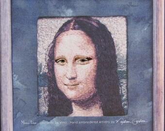 Mona Lisa, Da Vinci, print, on canvas, eyes and lips hand embroidered, 11x11