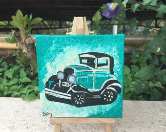 Mini Canvas Painting- Vintage Car 02