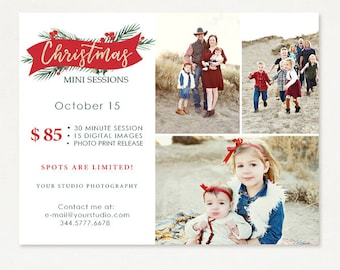 Christmas Mini Session Template - Photography Marketing Board - Holiday Christmas Minis - Photoshop Template 035- ID267, Instant Download