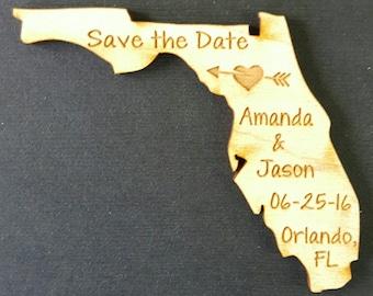 50 Wedding Favor, Florida Wedding Favor State Magnets - Bride, Groom, Gift, Save the Date, Rustic, Custom, United States Magnets