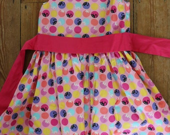 Hand-made-Girls Dorothy dress - peek-a-boo kitten - 3-4 years
