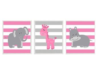 Nursery Art  Elephant Giraffe Hippo Safari Wall Art - Pink Gray Stripes  Print Set   - Baby Girl Children Kid Room Home Decor Wall Art