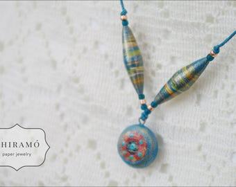 Adjustable Blue Paper Bead Necklace