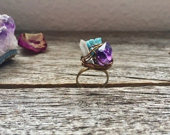 Raw Crystal Ring. Healing Crystal Ring. Adjustable Ring. Quartz Ring. Ring Raw amethyst, clear quartz and druzy Agate. Drusy Ring Druzy Ring